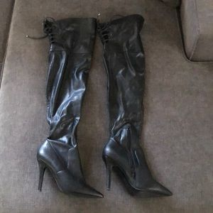 Aldo black pointed toe thigh high boots